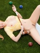 Jayme Langford naked on grass